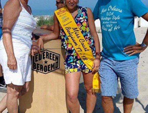 Finaliste Miss Coast Belgium '17-'18 Phebe Vermeersch aanwezig bij opnames 'Iedereen Beroemd' in Bredene